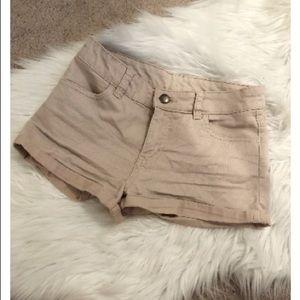 blush denim shorts